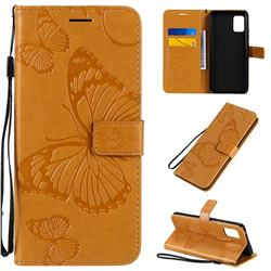 Embossing 3D Butterfly Leather Wallet Case for Samsung Galaxy A51 5G - Yellow