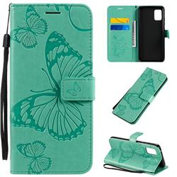 Embossing 3D Butterfly Leather Wallet Case for Samsung Galaxy A51 5G - Green