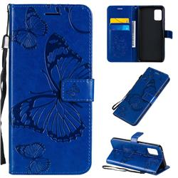 Embossing 3D Butterfly Leather Wallet Case for Samsung Galaxy A51 5G - Blue