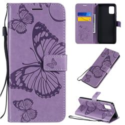Embossing 3D Butterfly Leather Wallet Case for Samsung Galaxy A51 5G - Purple