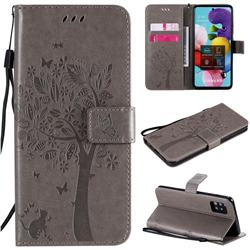 Embossing Butterfly Tree Leather Wallet Case for Samsung Galaxy A51 5G - Grey