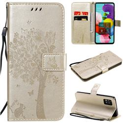 Embossing Butterfly Tree Leather Wallet Case for Samsung Galaxy A51 5G - Champagne