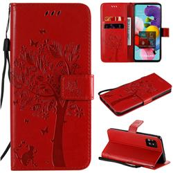 Embossing Butterfly Tree Leather Wallet Case for Samsung Galaxy A51 5G - Red