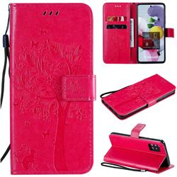 Embossing Butterfly Tree Leather Wallet Case for Samsung Galaxy A51 5G - Rose
