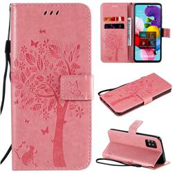 Embossing Butterfly Tree Leather Wallet Case for Samsung Galaxy A51 5G - Pink