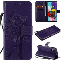 Embossing Butterfly Tree Leather Wallet Case for Samsung Galaxy A51 5G - Purple