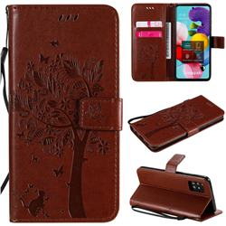 Embossing Butterfly Tree Leather Wallet Case for Samsung Galaxy A51 5G - Coffee