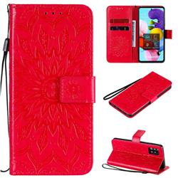 Embossing Sunflower Leather Wallet Case for Samsung Galaxy A51 5G - Red