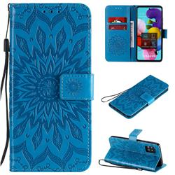 Embossing Sunflower Leather Wallet Case for Samsung Galaxy A51 5G - Blue
