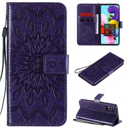 Embossing Sunflower Leather Wallet Case for Samsung Galaxy A51 5G - Purple
