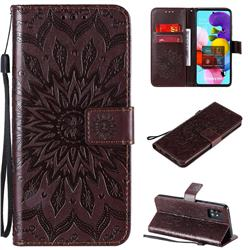 Embossing Sunflower Leather Wallet Case for Samsung Galaxy A51 5G - Brown