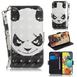 Angry Bear 3D Painted Leather Wallet Phone Case for Samsung Galaxy A51 5G