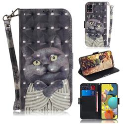 Cat Embrace 3D Painted Leather Wallet Phone Case for Samsung Galaxy A51 5G