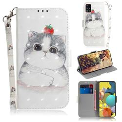 Cute Tomato Cat 3D Painted Leather Wallet Phone Case for Samsung Galaxy A51 5G