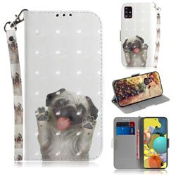 Pug Dog 3D Painted Leather Wallet Phone Case for Samsung Galaxy A51 5G