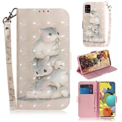 Three Squirrels 3D Painted Leather Wallet Phone Case for Samsung Galaxy A51 5G