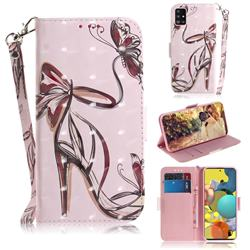 Butterfly High Heels 3D Painted Leather Wallet Phone Case for Samsung Galaxy A51 5G