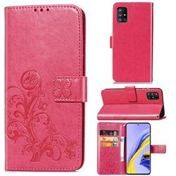 Embossing Imprint Four-Leaf Clover Leather Wallet Case for Samsung Galaxy A51 5G - Rose Red