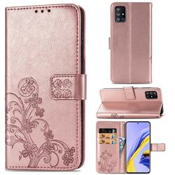 Embossing Imprint Four-Leaf Clover Leather Wallet Case for Samsung Galaxy A51 5G - Rose Gold