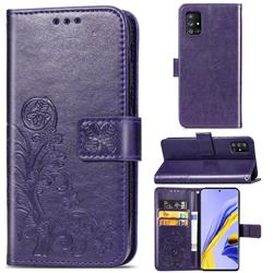 Embossing Imprint Four-Leaf Clover Leather Wallet Case for Samsung Galaxy A51 5G - Purple