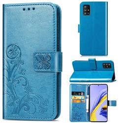 Embossing Imprint Four-Leaf Clover Leather Wallet Case for Samsung Galaxy A51 5G - Blue