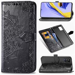 Embossing Imprint Mandala Flower Leather Wallet Case for Samsung Galaxy A51 5G - Black