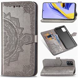 Embossing Imprint Mandala Flower Leather Wallet Case for Samsung Galaxy A51 5G - Gray