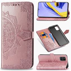 Embossing Imprint Mandala Flower Leather Wallet Case for Samsung Galaxy A51 5G - Rose Gold