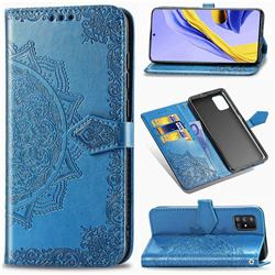 Embossing Imprint Mandala Flower Leather Wallet Case for Samsung Galaxy A51 5G - Blue