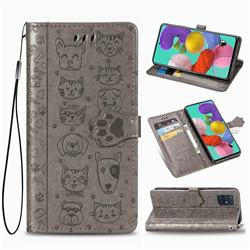 Embossing Dog Paw Kitten and Puppy Leather Wallet Case for Samsung Galaxy A51 5G - Gray