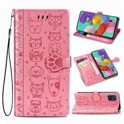 Embossing Dog Paw Kitten and Puppy Leather Wallet Case for Samsung Galaxy A51 5G - Pink