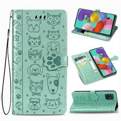 Embossing Dog Paw Kitten and Puppy Leather Wallet Case for Samsung Galaxy A51 5G - Green