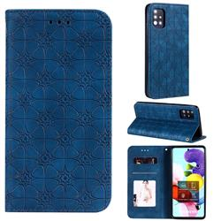 Intricate Embossing Four Leaf Clover Leather Wallet Case for Samsung Galaxy A51 5G - Dark Blue