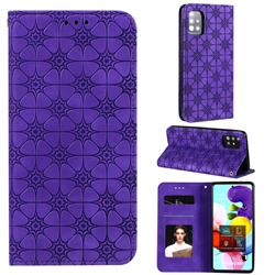 Intricate Embossing Four Leaf Clover Leather Wallet Case for Samsung Galaxy A51 5G - Purple