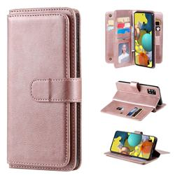 Multi-function Ten Card Slots and Photo Frame PU Leather Wallet Phone Case Cover for Samsung Galaxy A51 5G - Rose Gold