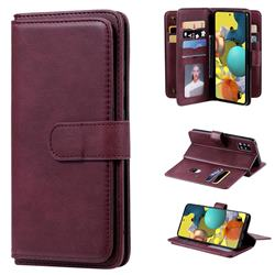Multi-function Ten Card Slots and Photo Frame PU Leather Wallet Phone Case Cover for Samsung Galaxy A51 5G - Claret