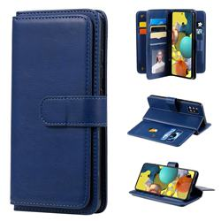 Multi-function Ten Card Slots and Photo Frame PU Leather Wallet Phone Case Cover for Samsung Galaxy A51 5G - Dark Blue