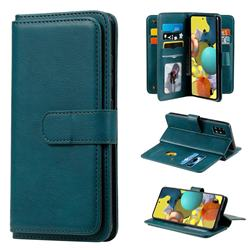 Multi-function Ten Card Slots and Photo Frame PU Leather Wallet Phone Case Cover for Samsung Galaxy A51 5G - Dark Green