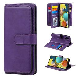 Multi-function Ten Card Slots and Photo Frame PU Leather Wallet Phone Case Cover for Samsung Galaxy A51 5G - Violet