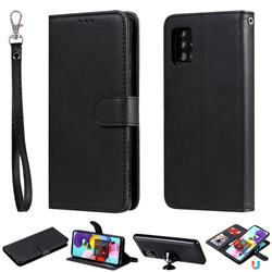 Retro Greek Detachable Magnetic PU Leather Wallet Phone Case for Samsung Galaxy A51 5G - Black