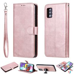 Retro Greek Detachable Magnetic PU Leather Wallet Phone Case for Samsung Galaxy A51 5G - Rose Gold