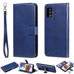 Retro Greek Detachable Magnetic PU Leather Wallet Phone Case for Samsung Galaxy A51 5G - Blue
