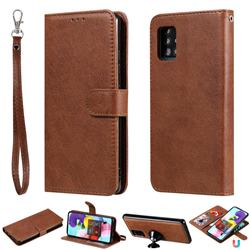 Retro Greek Detachable Magnetic PU Leather Wallet Phone Case for Samsung Galaxy A51 5G - Brown