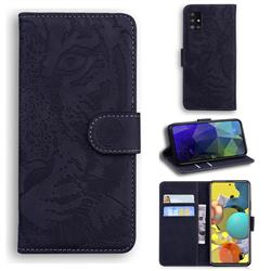 Intricate Embossing Tiger Face Leather Wallet Case for Samsung Galaxy A51 5G - Black