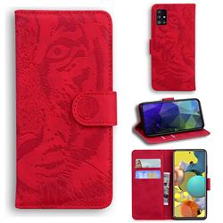 Intricate Embossing Tiger Face Leather Wallet Case for Samsung Galaxy A51 5G - Red