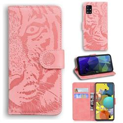 Intricate Embossing Tiger Face Leather Wallet Case for Samsung Galaxy A51 5G - Pink