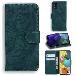 Intricate Embossing Tiger Face Leather Wallet Case for Samsung Galaxy A51 5G - Green