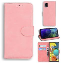 Retro Classic Skin Feel Leather Wallet Phone Case for Samsung Galaxy A51 5G - Pink