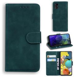 Retro Classic Skin Feel Leather Wallet Phone Case for Samsung Galaxy A51 5G - Green