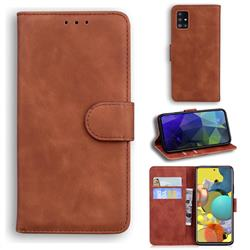 Retro Classic Skin Feel Leather Wallet Phone Case for Samsung Galaxy A51 5G - Brown